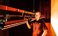 Ben Hunt, Head of Lighting at the Empire Theatres, with the newly delivered Robert Juliat Dalis 860 cyclorama lights - Photo © Kris Stewart